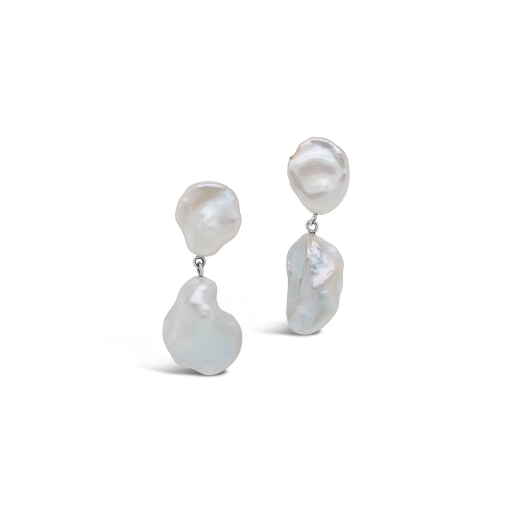 Freshwater Keshi Pearls Duo Drop Earrings