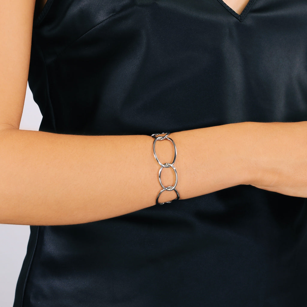 Contemporary Open Link Bracelet (Silver)
