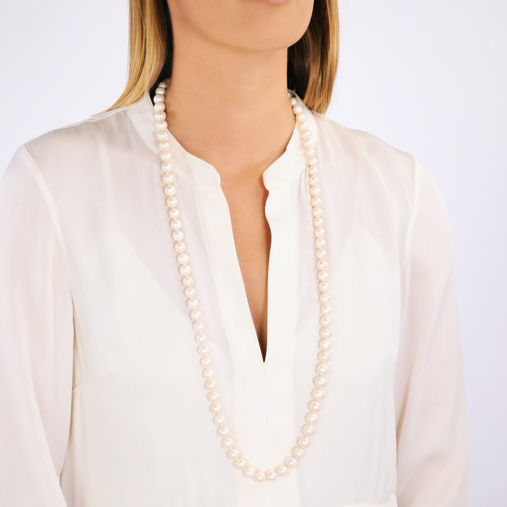 Long Baroque Pearl Necklace (White)