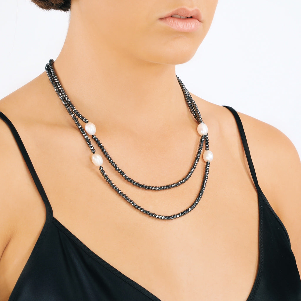 Long Freshwater Pearl & Haematite Necklace (White)