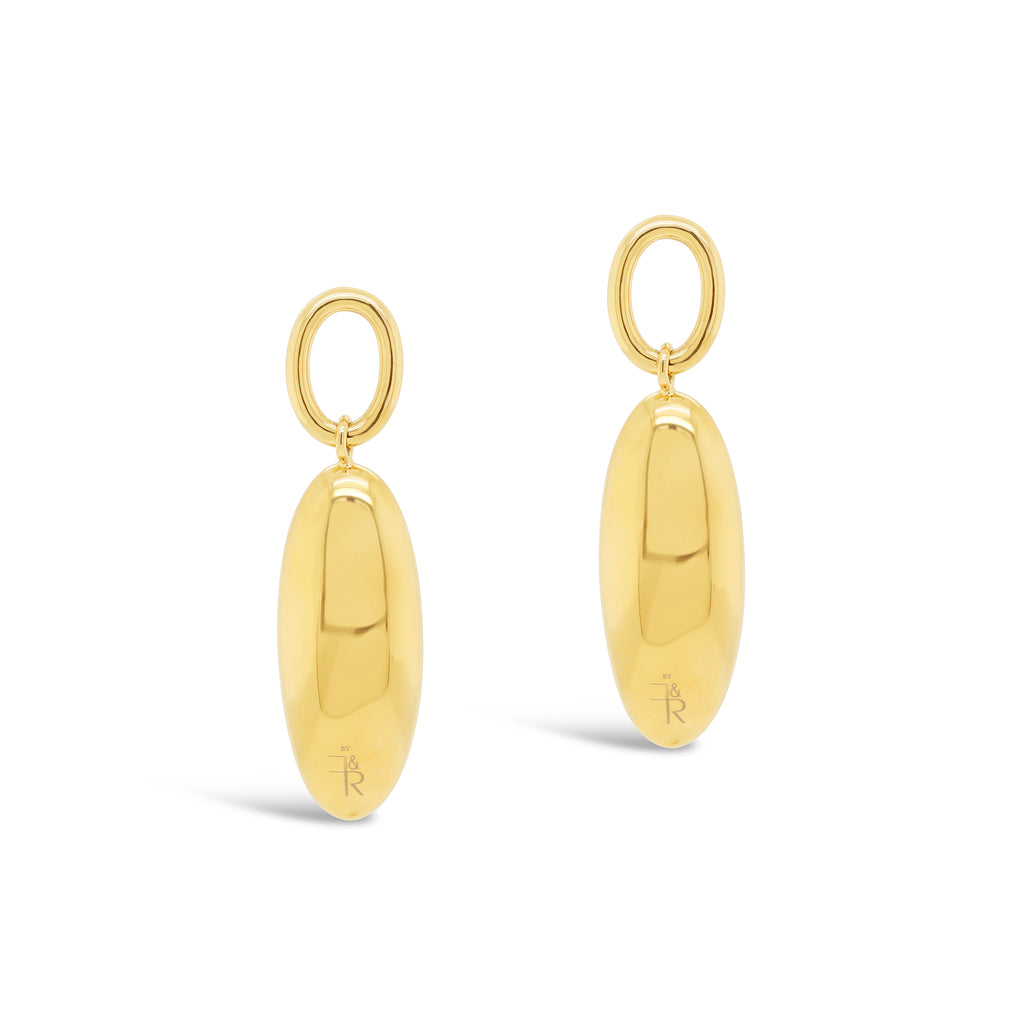Contemporary Long Marquise Pendant Earrings