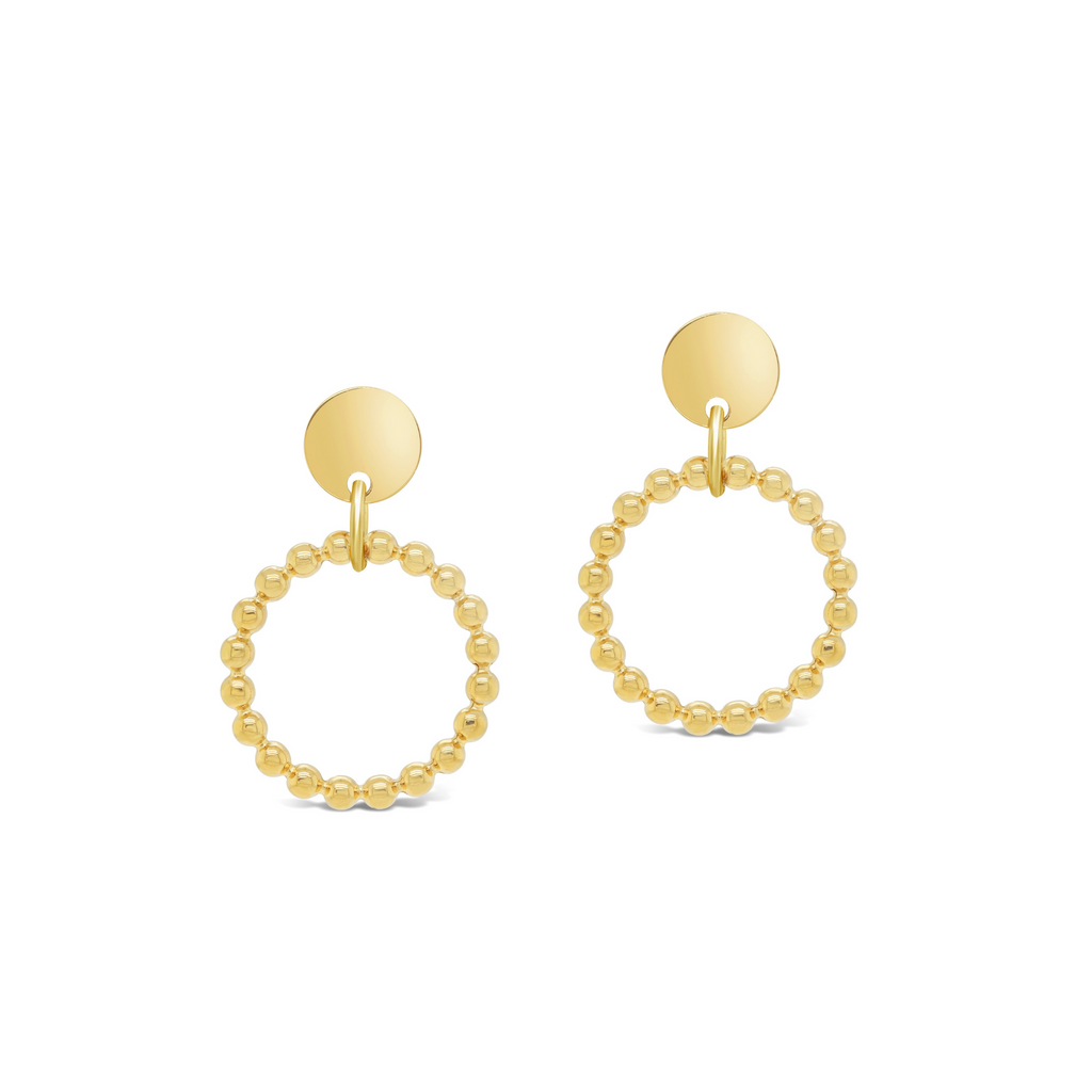 Beaded Two-Tone Round Drop Earrings