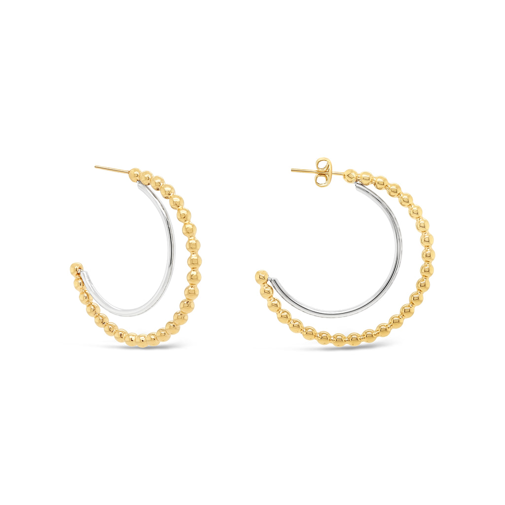 Beaded Two-Tone Half Hoop Earrings