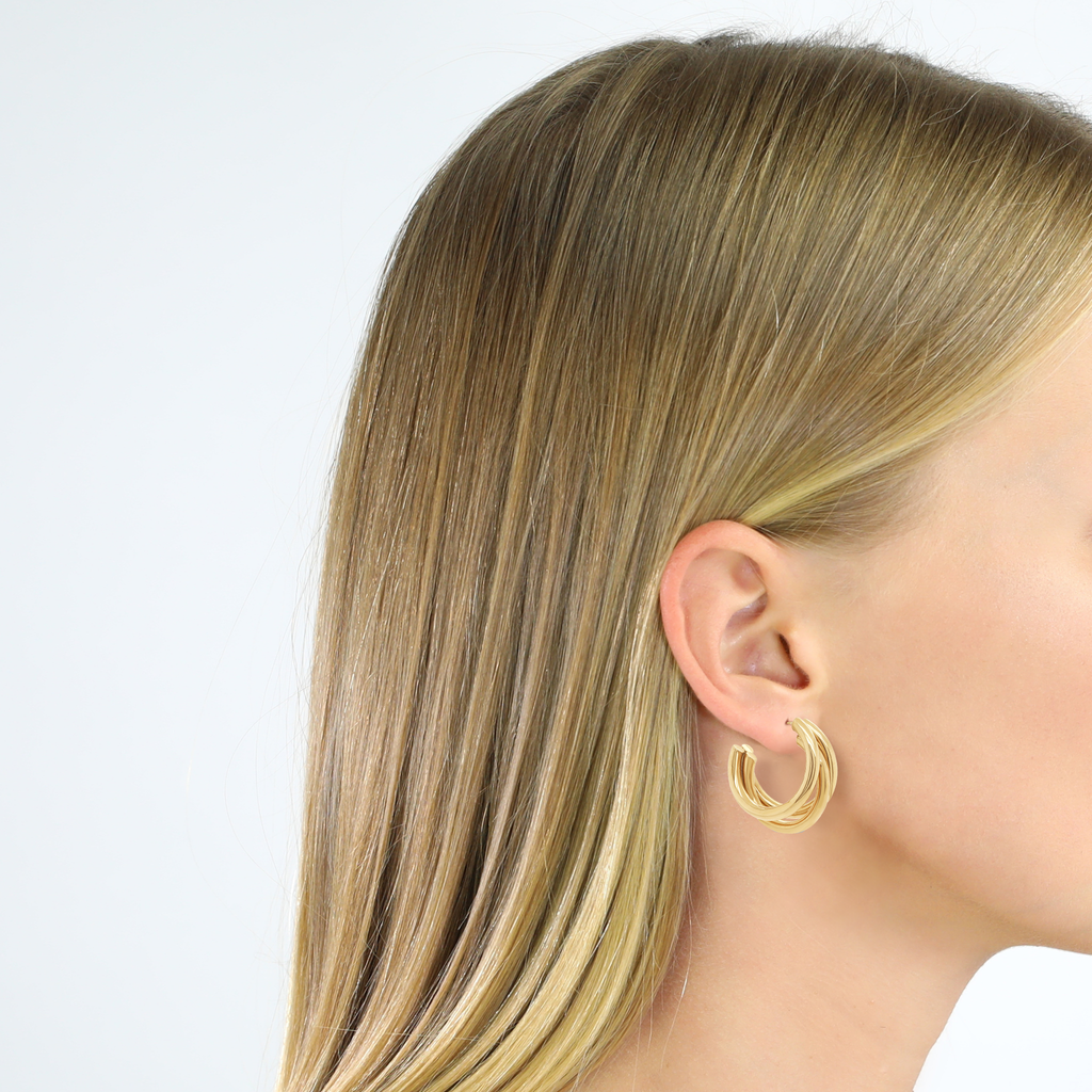 Contemporary Triple Hoop Earrings
