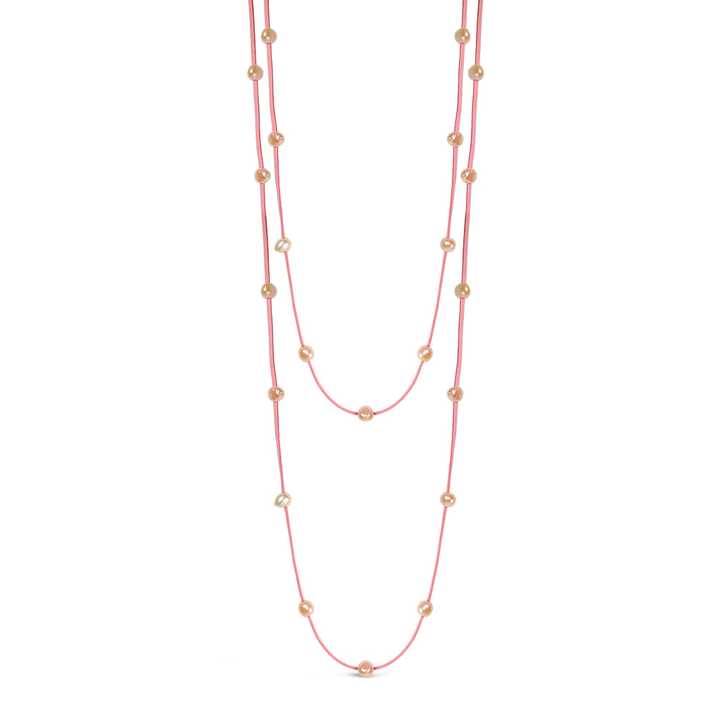 Freshwater Pearl & Suede Multi-Wrap (Pink)