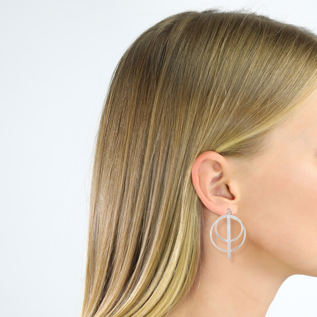 Contemporary Abstract Hoop Earrings