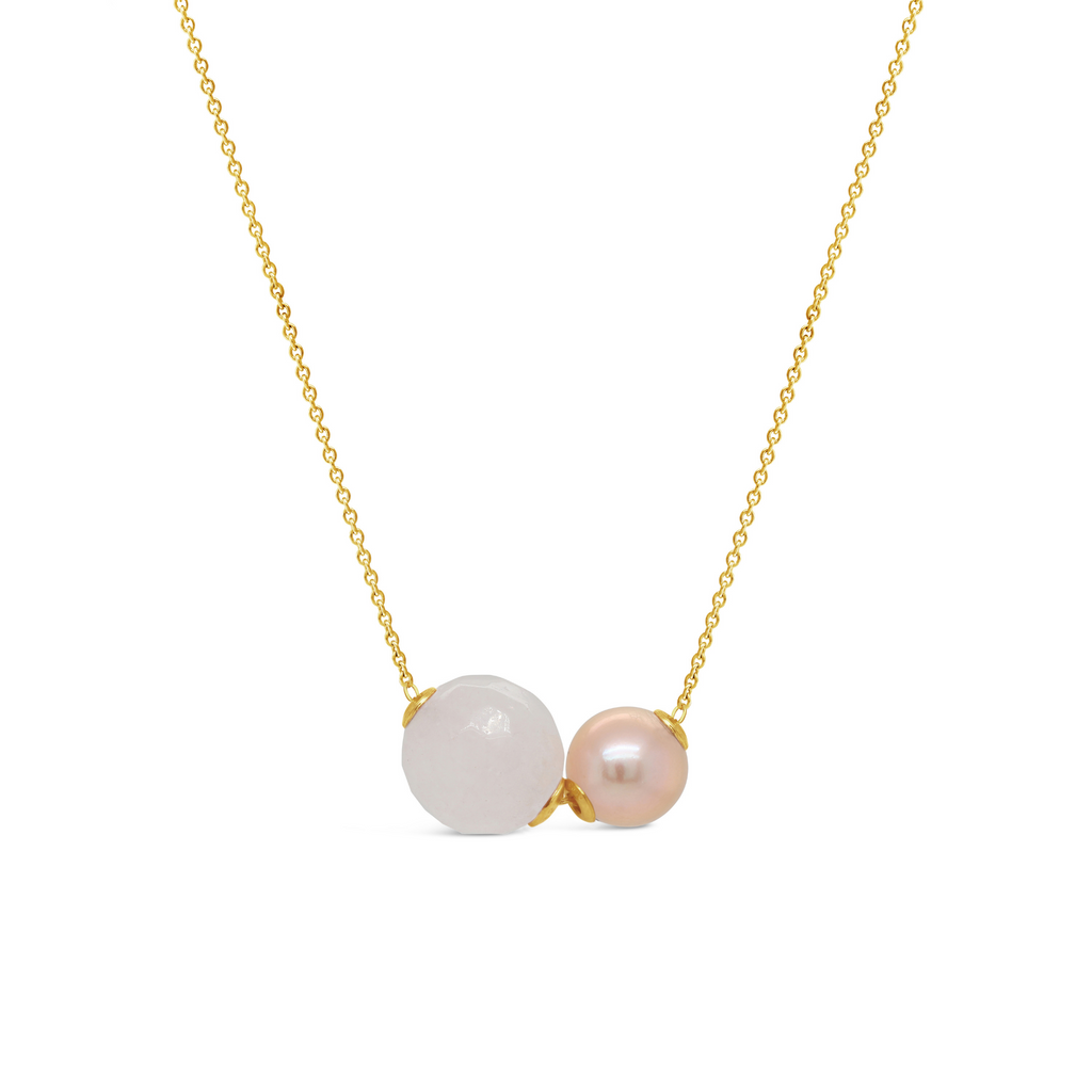 Real Freshwater Pearl & Rose Quartz Double Slider Necklace