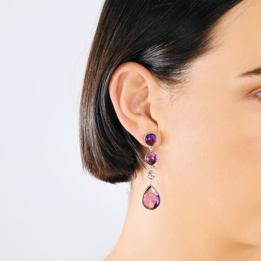 Real Four-Stone Drop Earrings (Amethyst)