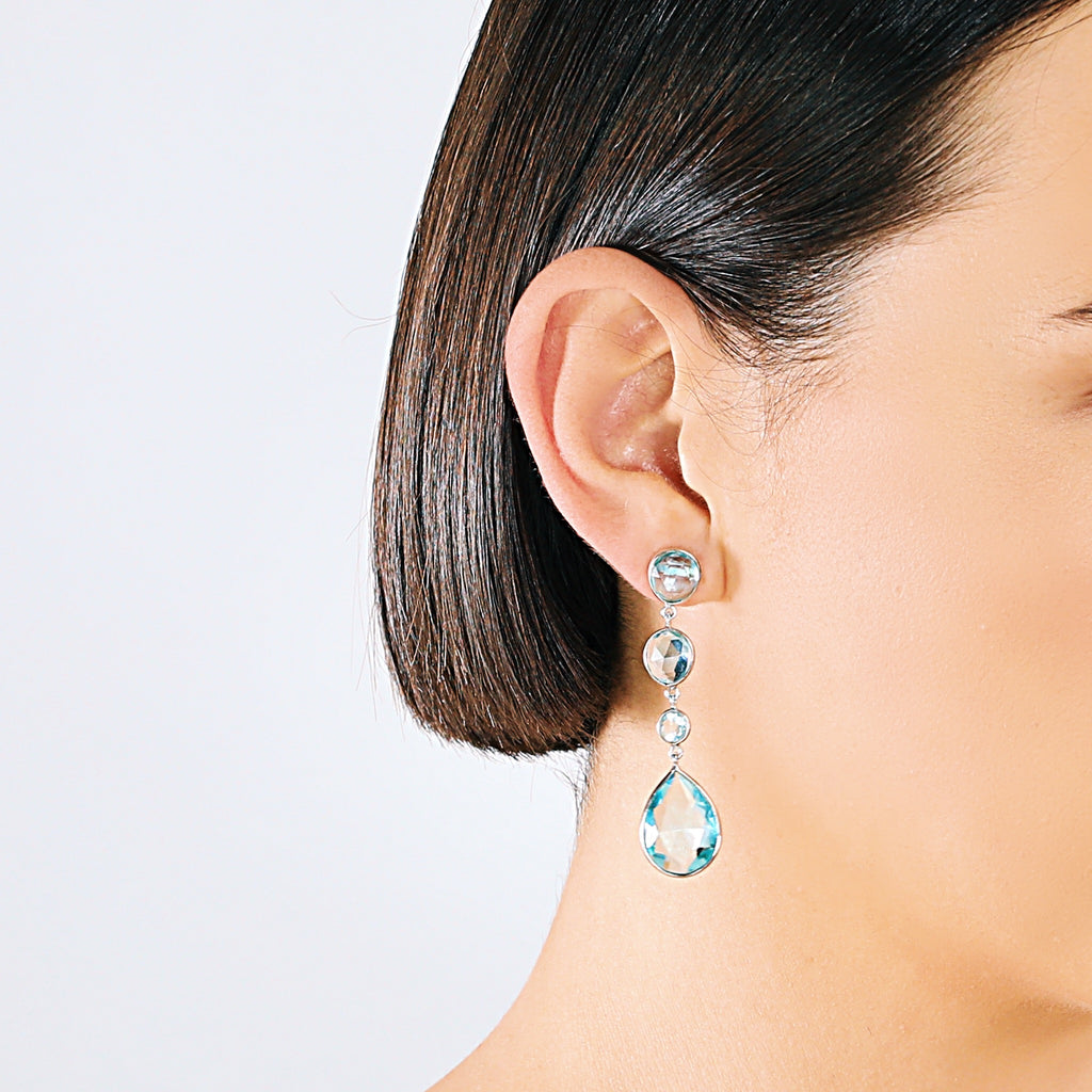 Real Four-Stone Silver Drop Earrings (Topaz)