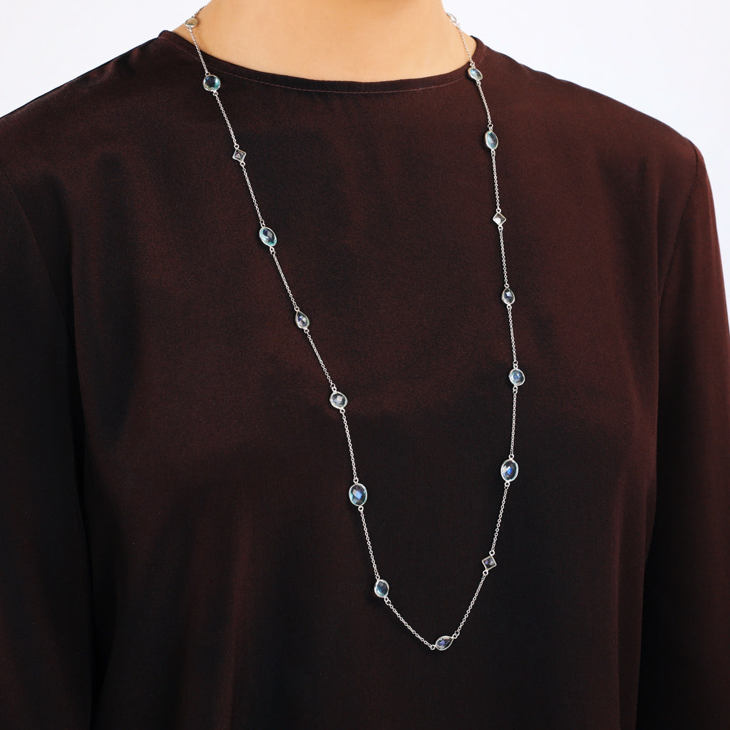 Real Gemstone Long Silver Necklace (Topaz)