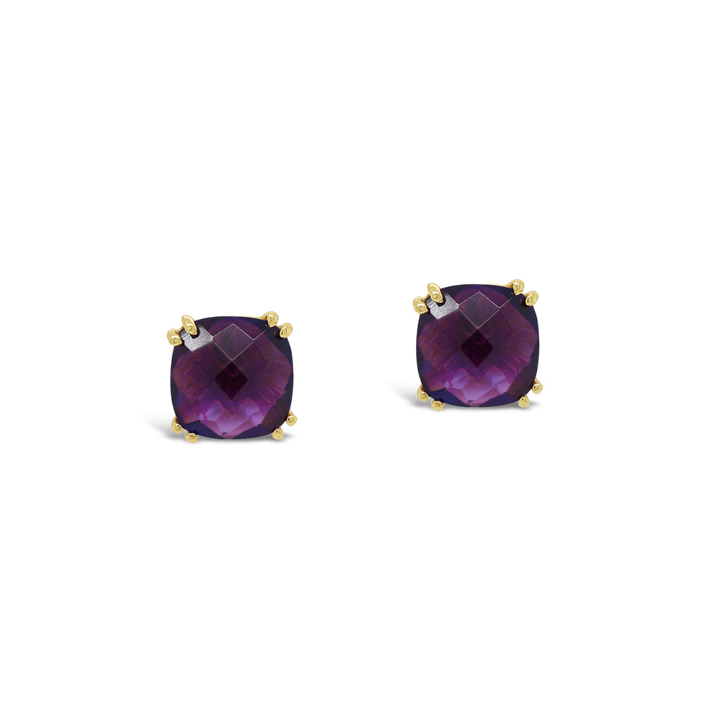 Real Gemstone Cushion Studs