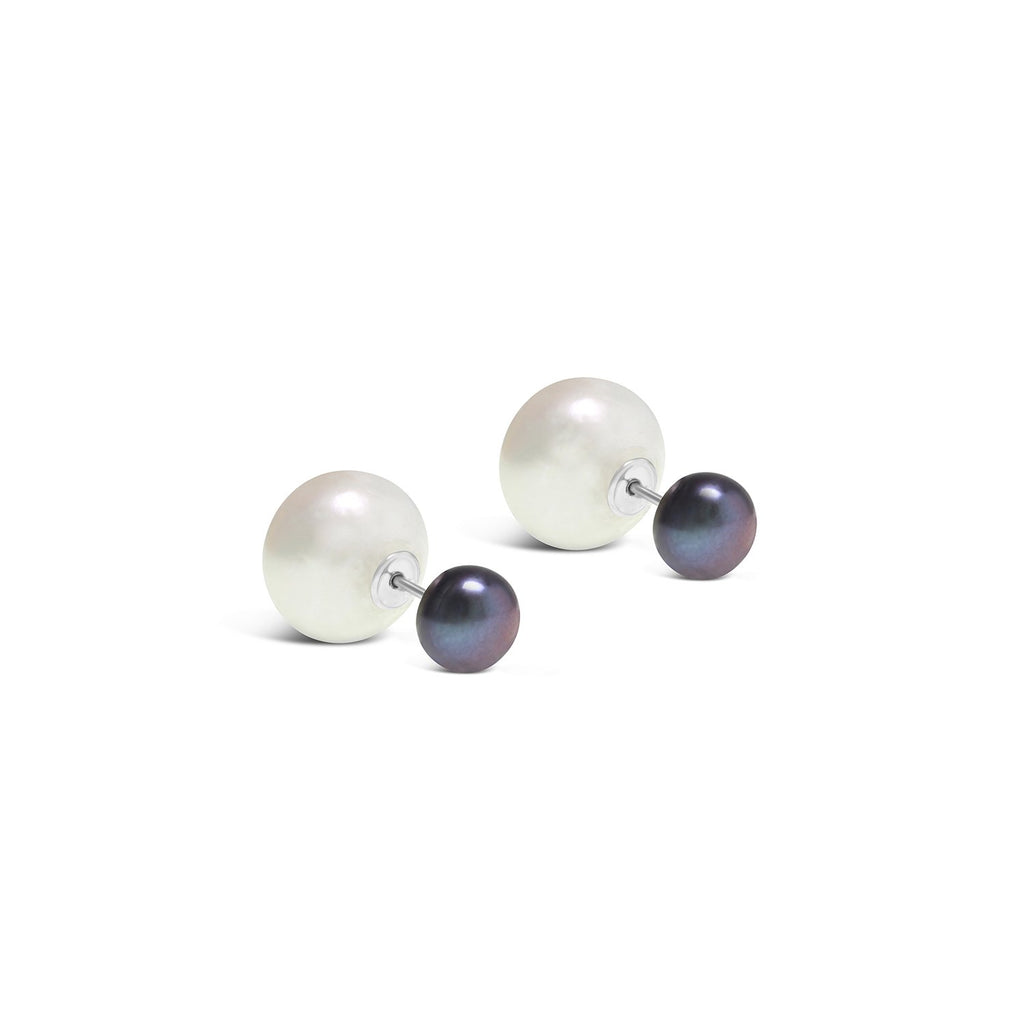 Real Pearl Modern Twist Duo Stud Earrings