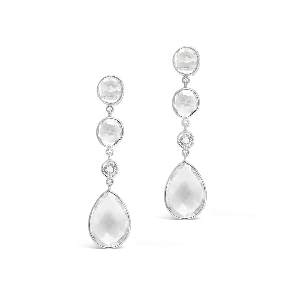 Real Gemstone Four Stone Drop Earrings