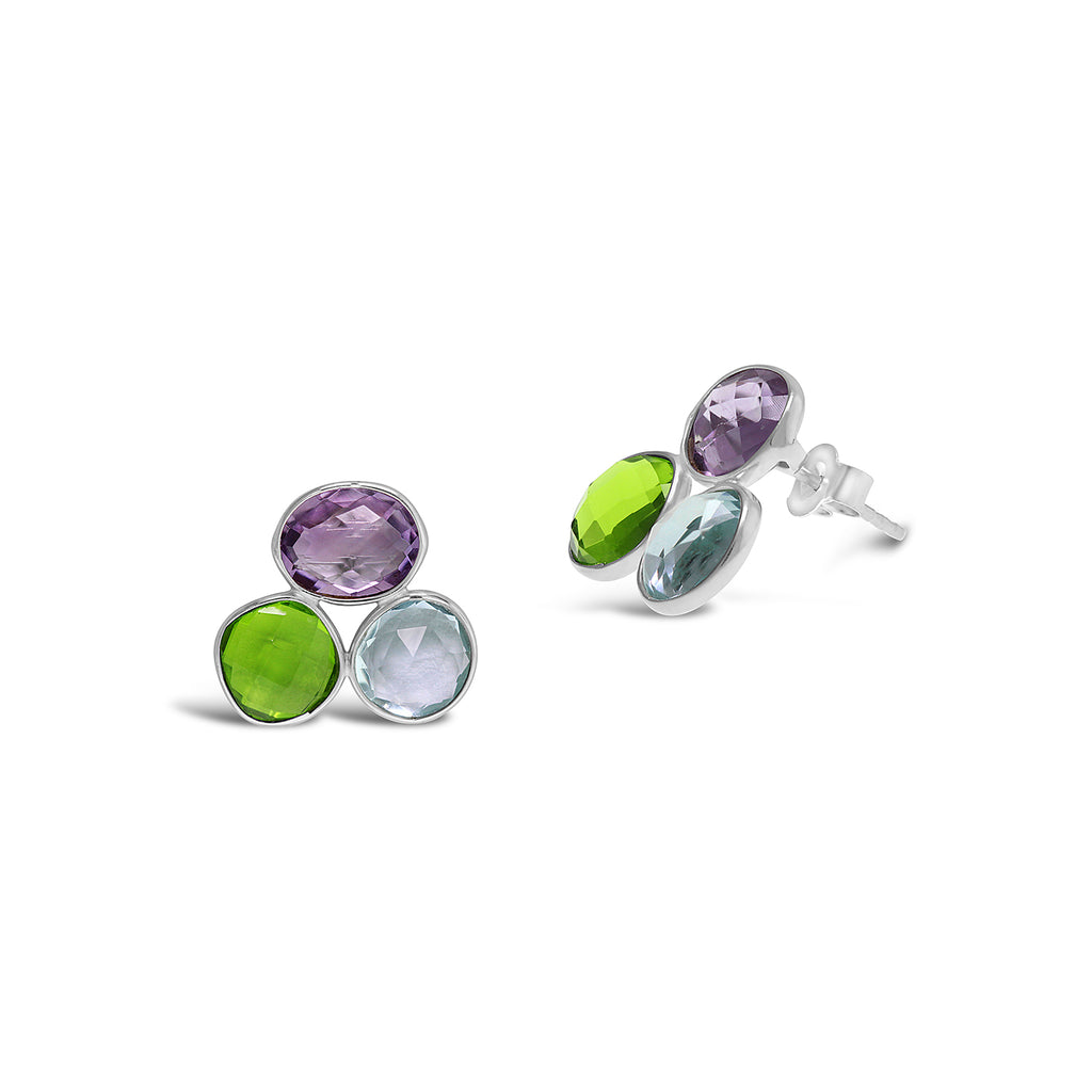 Real Gemstone Silver Trio Earrings (Amethyst, Topaz and Peridot)