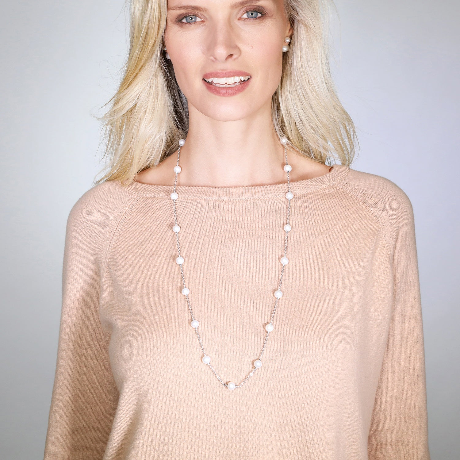 Real Pearl Modern Twist Long Necklace