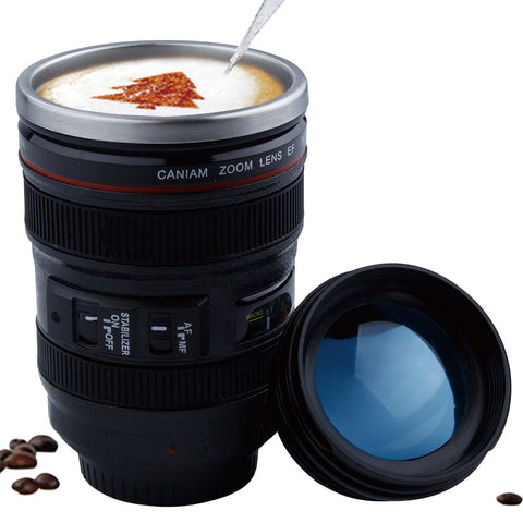 400ml Stainless Steel Camera Lens coffee Mug With Lid