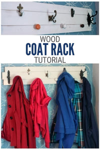Make a Farmhouse Coat Rack with an assortment of knobs on wood slat
