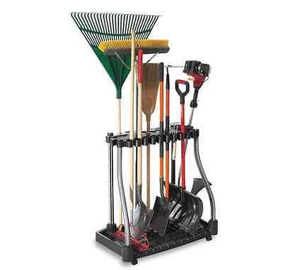 Storage Organizer Tower Tool Rack Garage Deluxe Garden Holder Shovel Rolling NEW