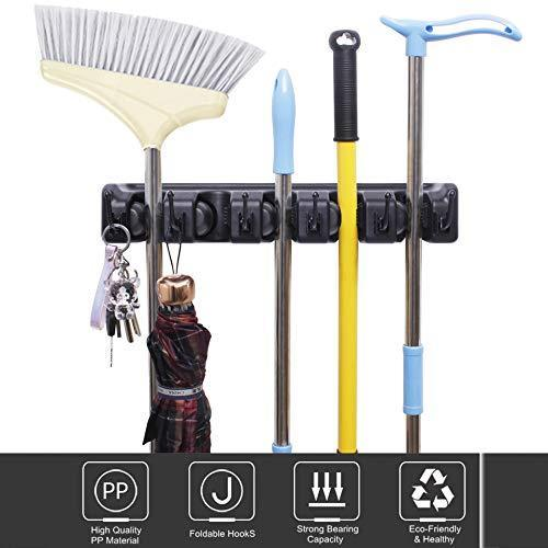 Heavy duty hyrixdirect mop and broom holder wall mount heavy duty broom holder wall mounted broom organizer home garden garage storage rack 5 position with 6 hooks black
