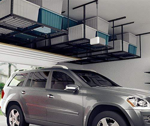 Shop fleximounts 4x8 overhead garage storage rack adjustable ceiling garage rack heavy duty 96 length x 48 width x 22 40 ceiling dropdown black two color options