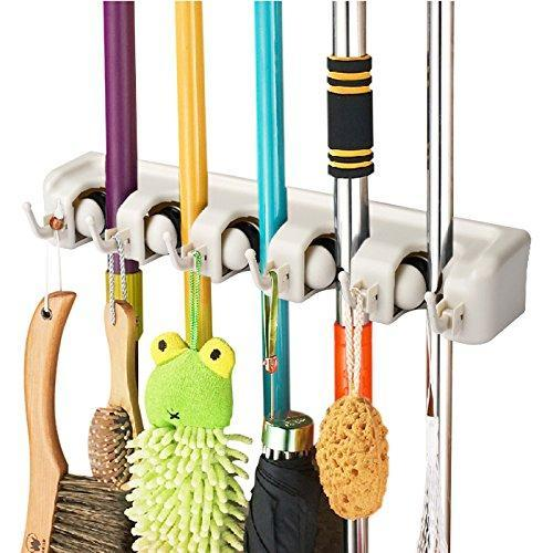 Save on titan mall broom and mop holder wall mount garage storage organizer with 5 slots and 6 hooks spatula rack for kitchen pack of 1
