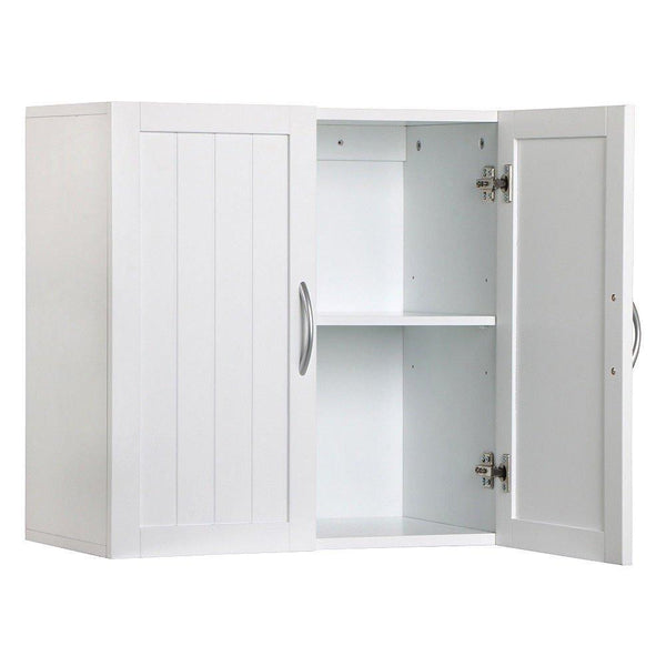 Select nice white wall mounted wooden kitchen cabinet bathroom shelf laundry mudroom garage toiletries medicines tools storage organizer cupboard unit ample storage space solid construction stylish modern design