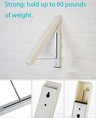 Heavy duty folding clothes hanger wall mounted retractable clothes hanger drying rack great space saver for laundry room attic garage indoor outdoor use stainless steel easy installation 81258