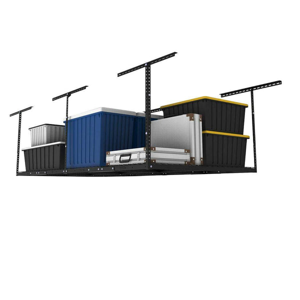 Related fleximounts 4x8 overhead garage storage rack adjustable ceiling garage rack heavy duty 96 length x 48 width x 22 40 ceiling dropdown black two color options