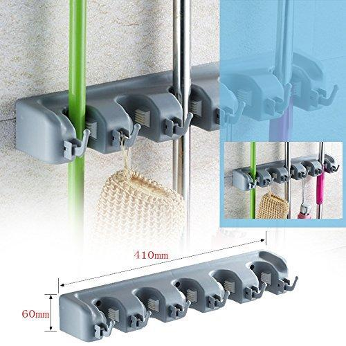 New mop broom holder wall mounted garden tool organizer space saving storage rack hanger with 5 position with 6 hooks strong grip holds up to 11 tools for kitchen garden and garage