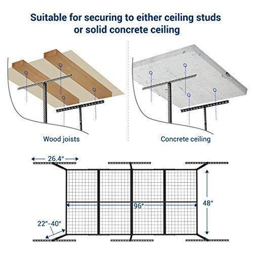 Shop for fleximounts 2 piece overhead garage storage rack set w hooks adjustable ceiling storage racks 96 length x 48 width x 40 height 2 pcs black
