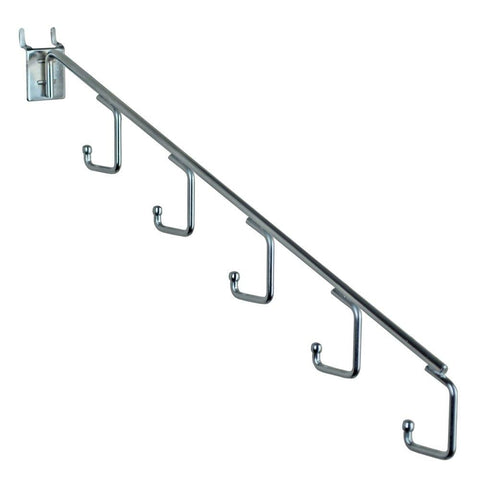 Azar Displays 700860 Five-Station Waterfall Faceout Hook, Chrome (10 Pack)