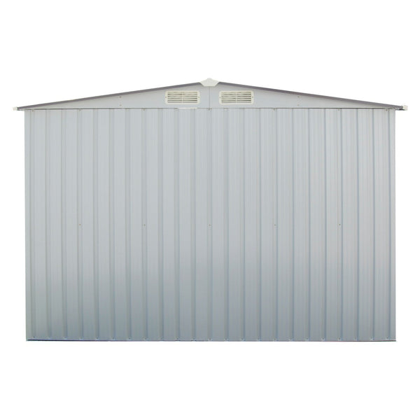 Explore wonlink heavy duty outdoor steel garden storage utility shed backyard lawn building garage white warm gray 8 by 8 feet