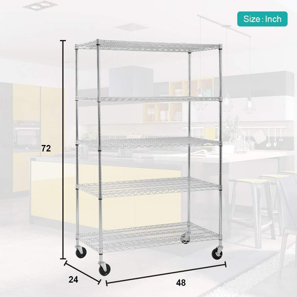 Best seller  5 wire shelving unit steel large metal shelf organizer garage storage shelves heavy duty nsf certified height adjustable commercial grade rack 5000 lbs capacity on 4 wheels 24d x 48w x 72h zinc
