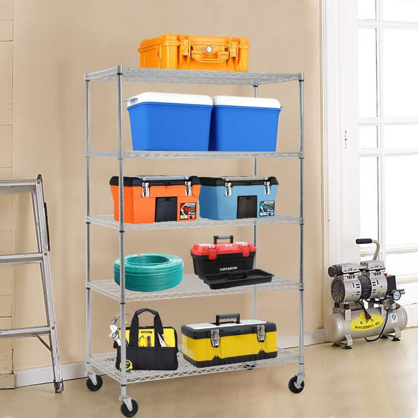 Buy now 5 wire shelving unit steel large metal shelf organizer garage storage shelves heavy duty nsf certified height adjustable commercial grade rack 5000 lbs capacity on 4 wheels 24d x 48w x 72h zinc