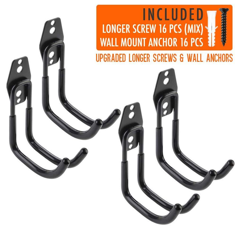 Budget 4pcs garage hooks for hanging ladder hose extension cord shovel bike chair garden tools upgrade version wall mount hanger and storage with longer screws hardware included and anti slip rubber