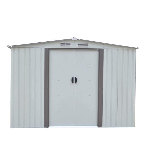 Get wonlink heavy duty outdoor steel garden storage utility shed backyard lawn building garage white warm gray 8 by 8 feet