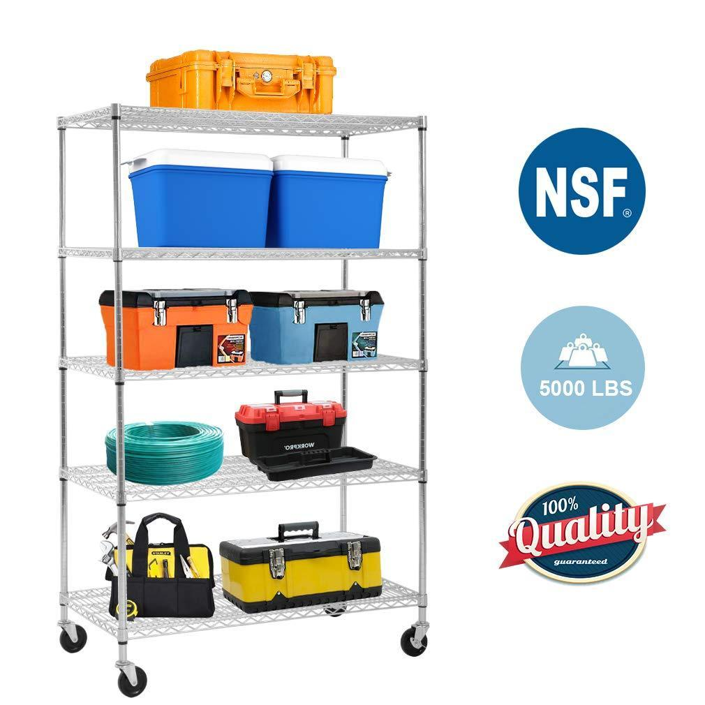 Best 5 wire shelving unit steel large metal shelf organizer garage storage shelves heavy duty nsf certified height adjustable commercial grade rack 5000 lbs capacity on 4 wheels 24d x 48w x 72h zinc