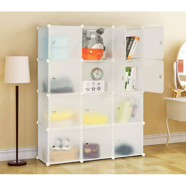 Discover the best honey home modular storage cube closet organizers portable plastic diy wardrobes cabinet shelving with easy closed doors for bedroom office kitchen garage 12 cubes white