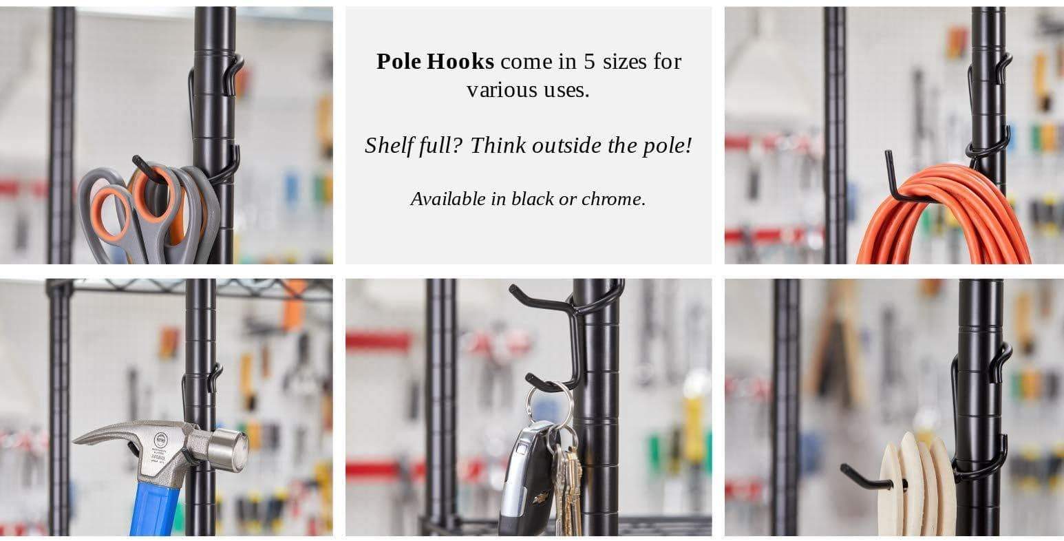 Discover the sunway shelf pole hooks 5 pack chrome coat hat hook best solution for garage shelving storage organization use with metal or wire shelves and racks heavy duty easy installation