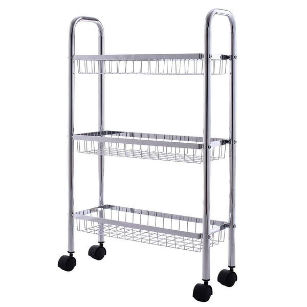 Related giantex 3 tier metal storage rack baskets shelving home kitchen office garage w wheels