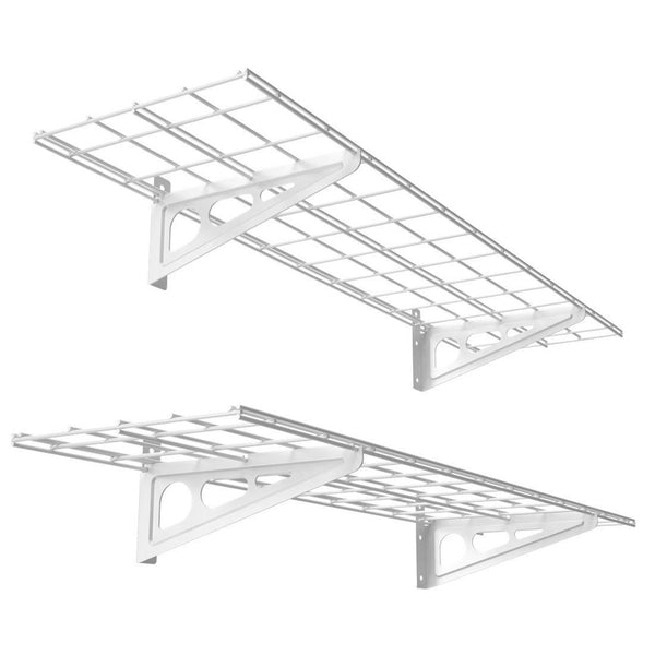 Select nice fleximounts 1 x 4 white 2 pack 1x4ft 12 inch by 48 inch wall shelf garage storage rack 12 x 48