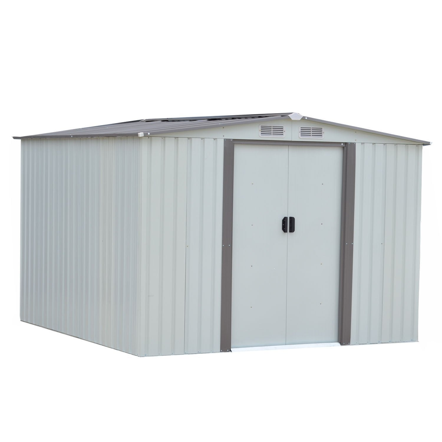 Discover the wonlink heavy duty outdoor steel garden storage utility shed backyard lawn building garage white warm gray 8 by 8 feet