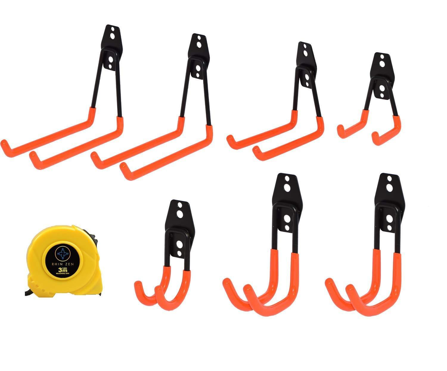 Explore rhin zen pack of 7 with free measuring tape hooks for garage storage heavy duty steel utility j hook for hanging bike shovel ladder garden lawn tool screw in wall and ceiling mounting