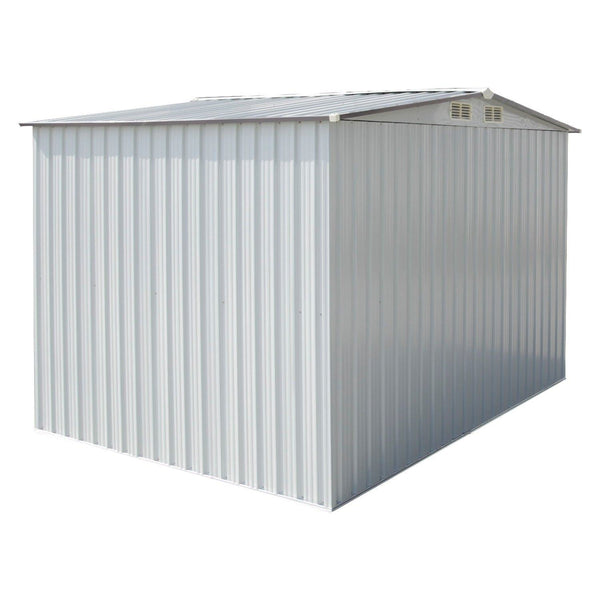 Featured wonlink heavy duty outdoor steel garden storage utility shed backyard lawn building garage white warm gray 8 by 8 feet