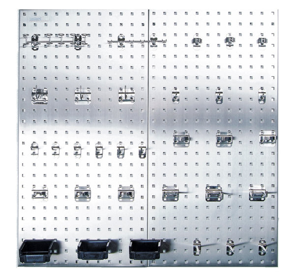 Triton Products LB18-SKit Stainless Steel LocBoard Assortment with Two 304 Stainless Steel Square Hole Pegboards with 32 piece Stainless LocHook Assortment and 3 Plastic Hanging Bins