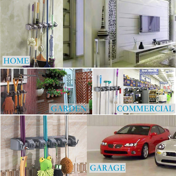 Get hyrixdirect mop and broom holder wall mount heavy duty broom holder wall mounted broom organizer home garden garage storage rack 5 position with 6 hooks black