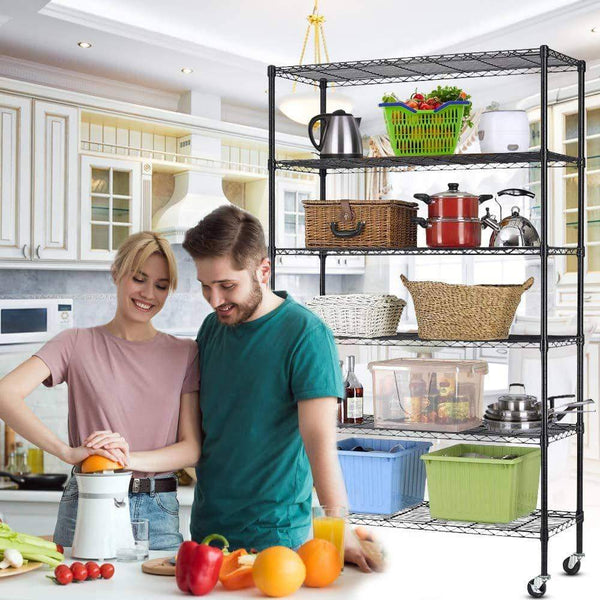 Heavy duty 6 tier storage shelves metal wire shelving unit height adjustable nsf heavy duty garage shelving with wheels 48x18x82 commercial grade utility shelf rack for restaurant basement garage kitchen