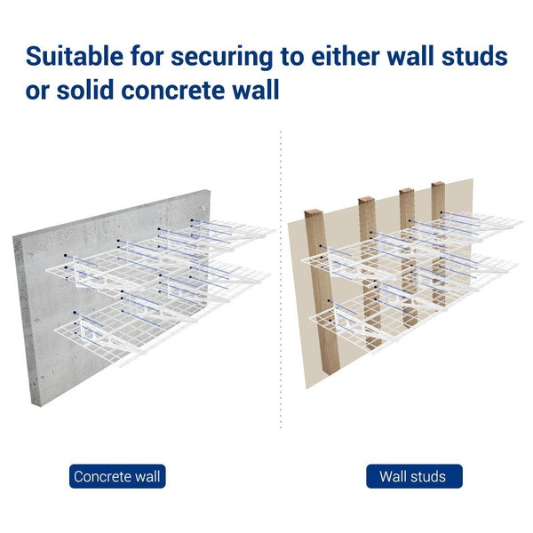Top rated fleximounts 2 x 6 white 2 pack 2x6ft 24 inch by 72 inch wall shelf garage storage rack 24 x 72