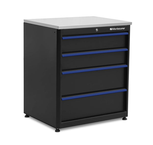 Purchase montezuma garage tool storage system 30 5 x 24 locking 4 drawer workbench with ball bearing slides stainless steel worktop bkmg30244bc