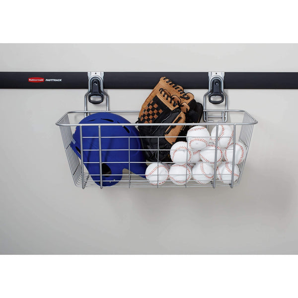 Budget friendly rubbermaid fasttrack garage storage wire mesh basket